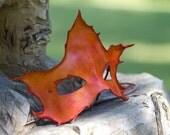 Orange Maple Leaf Handmade Leather Mask