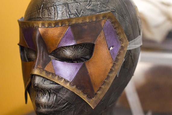 Masquerade Harlequinn Handmade Leather Mask