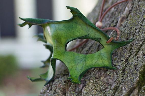 Green Oak Leaf Handmade Leaher mask