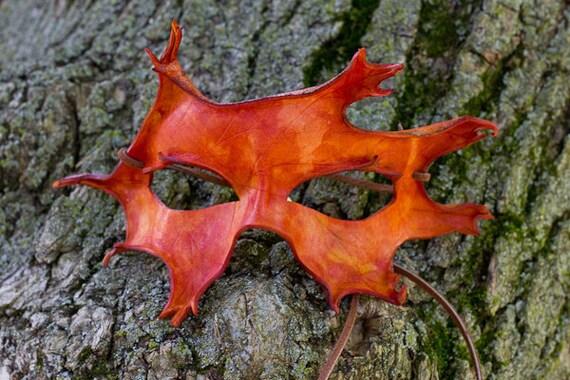 Orange Oak Leaf Handmade Leather Mask