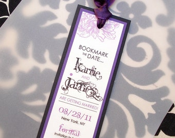PURPLElicious Peony Wedding Save the Date Bookmark... SAMPLE