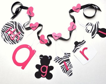 Zebra and hot pink baby shower decorations it's a girl banner by ParkersPrints on Etsy