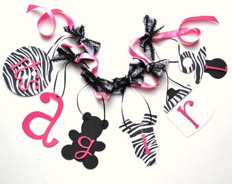 Zebra baby shower decorations, Hot Pink and Black banner with bows by ParkersPrints on Etsy