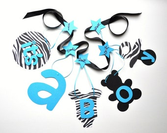 Zebra and blue baby shower decorations it's a boy banner by ParkersPrints on Etsy