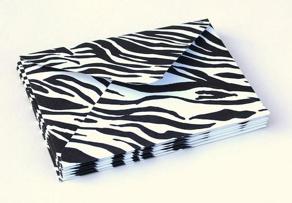 Set of 6 Handmade Zebra Print Envelopes, address labels, hot pink ...