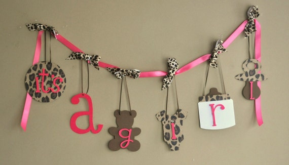Leopard Baby Shower Decorations Cheetah Itu0027s A Girl Banner With Bows By  ParkersPrints On Etsy. ◅