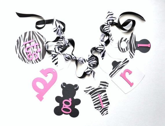Zebra baby shower decorations pink and black it's a girl banner with bows by ParkersPrints on Etsy