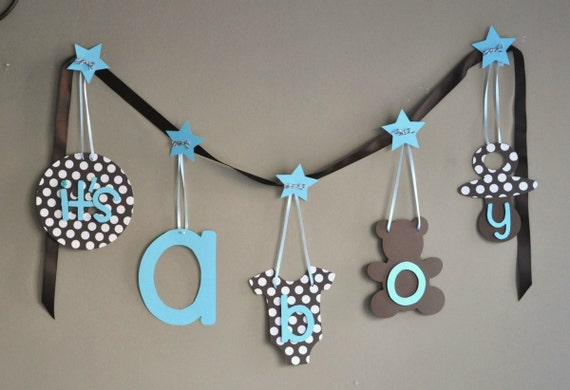 blue and brown baby shower decorations it 39 s a boy by parkersprints