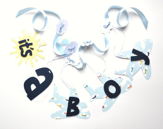 Airplane baby shower decorations baby and navy blue It's a boy banner ParkersPrints on Etsy