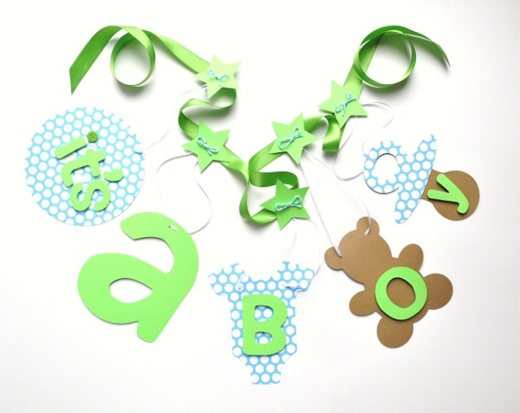 turquoise and lime green baby shower decorations it 39 s a boy banner by