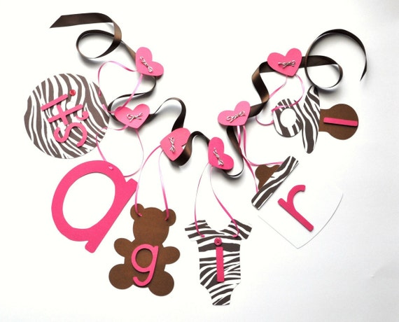 Pink and brown zebra baby shower decorations it's by ParkersPrints