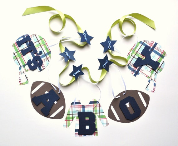 Football baby shower decorations blue and green plaid it's a boy banner by ParkersPrints on Etsy
