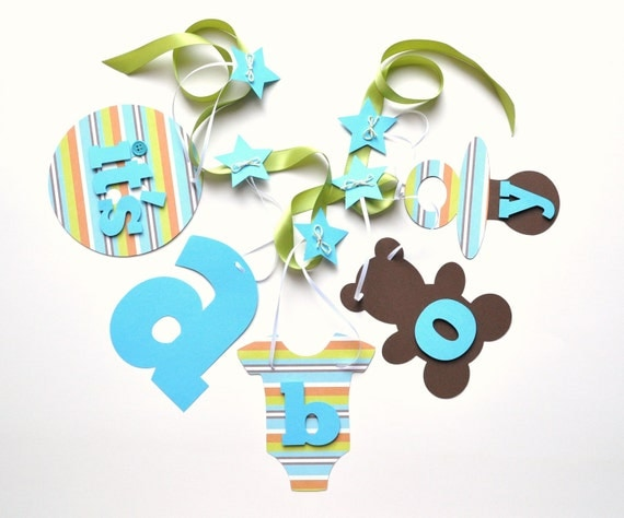 Baby shower decorations turquoise and green it's a boy banner by ParkersPrints on Etsy