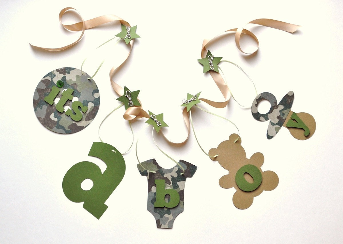 camo baby shower decorations it 39 s a boy banner by by parkersprints