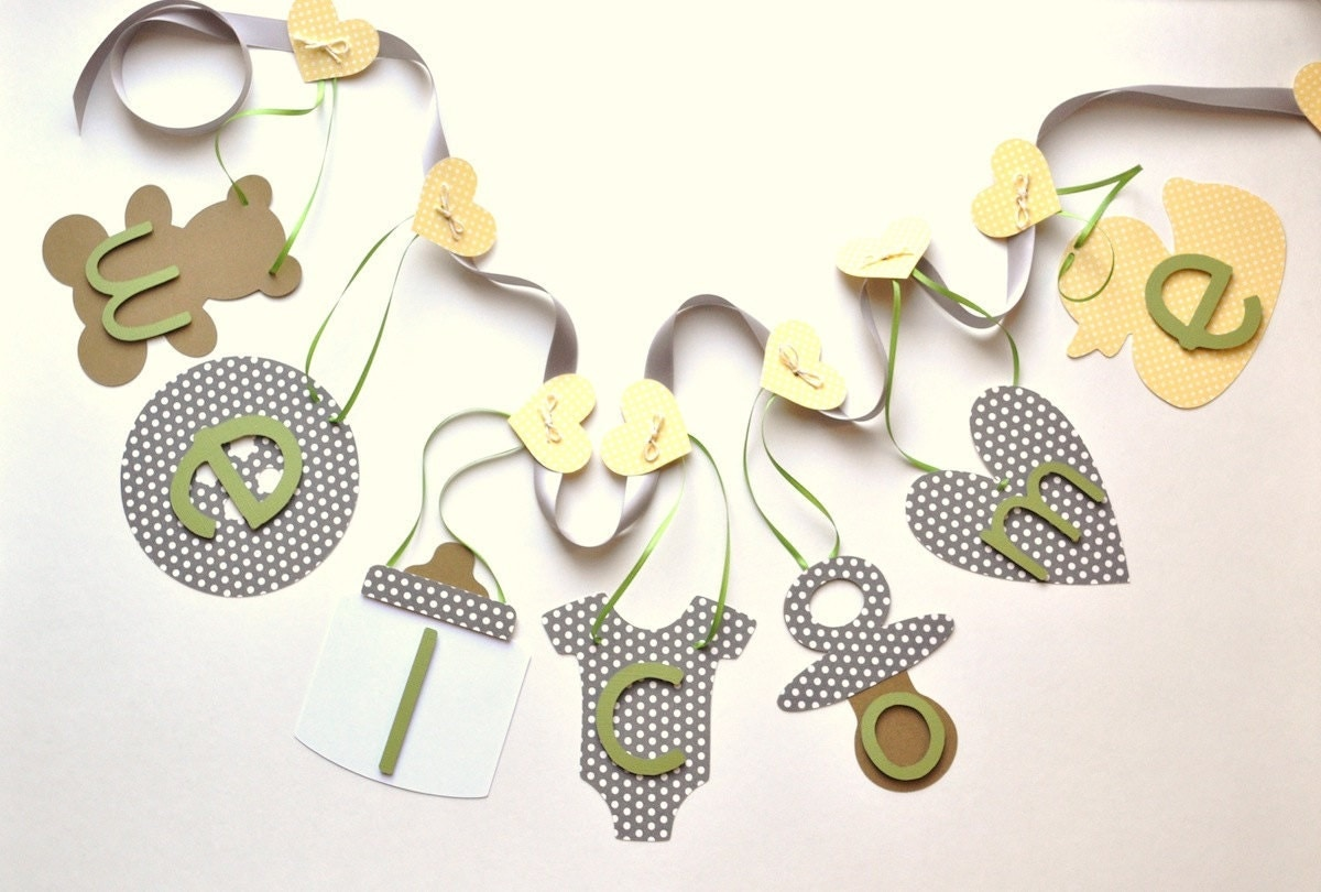 neutral baby shower decorations welcome baby banner by