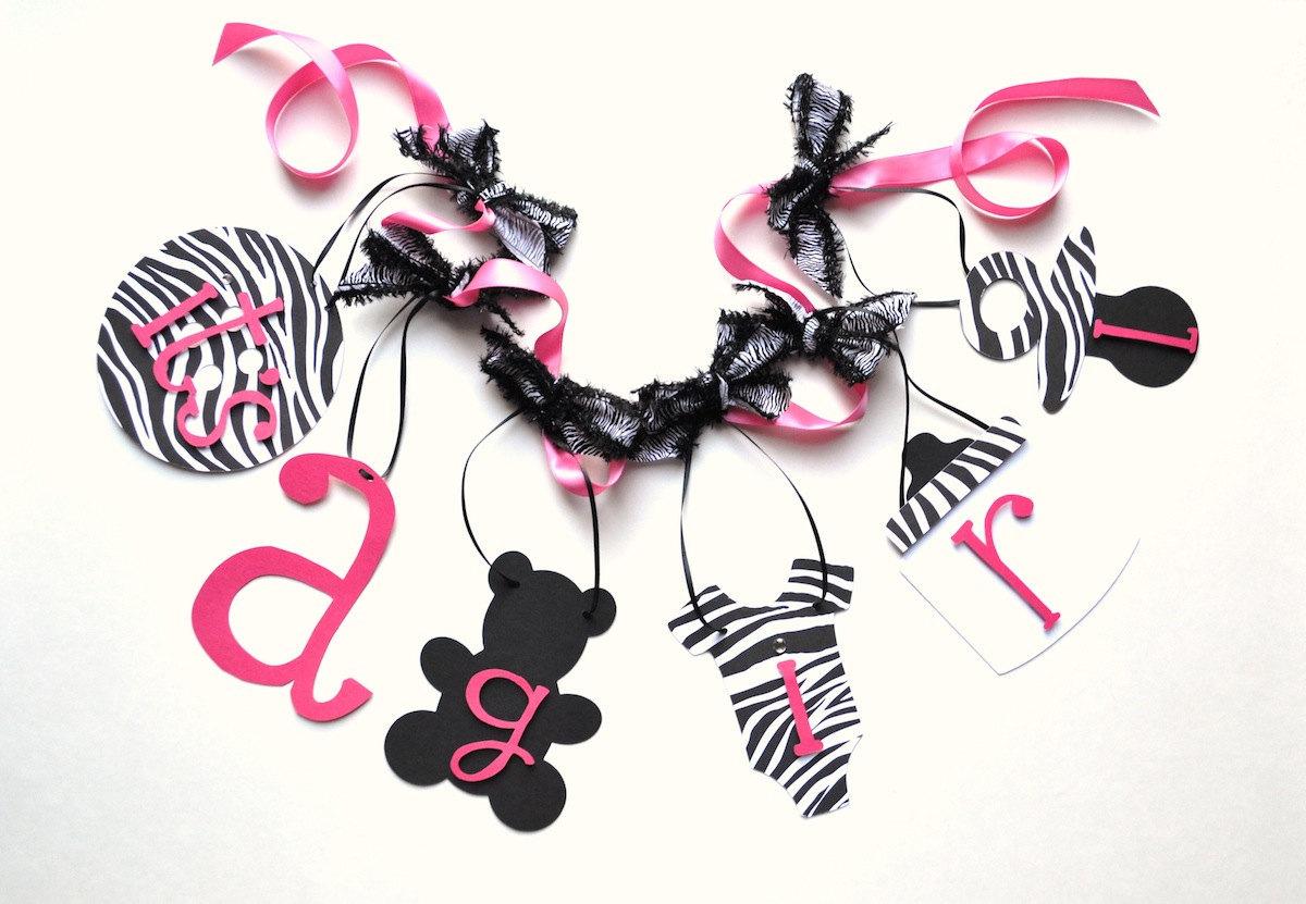 Pink Zebra Baby Shower Decorations