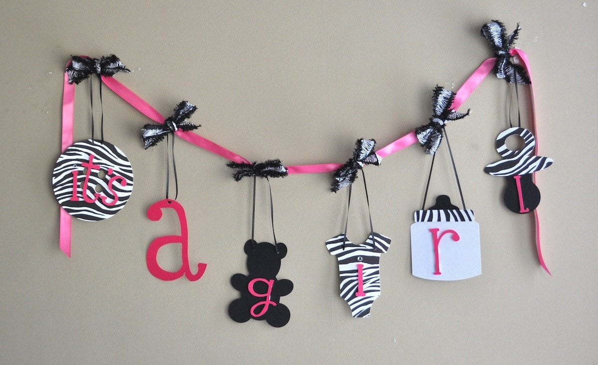 Zebra Baby Shower Decorations Hot Pink And Black By