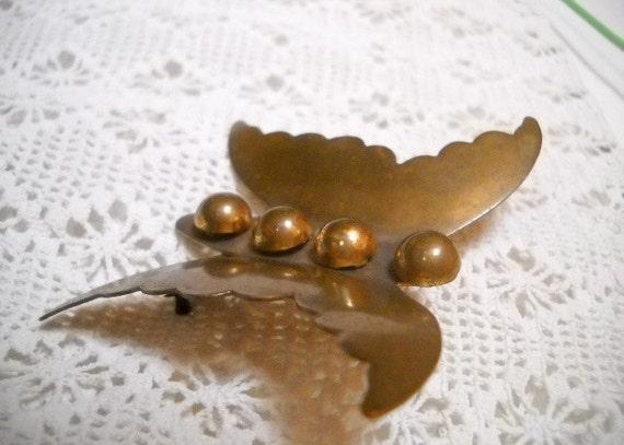 Vintage COPPER BUTTERFLY Brooch