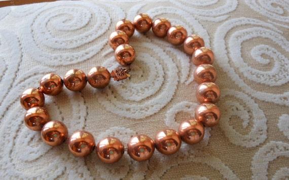 Vintage COPPER BEAD Necklace