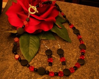 Poppy Red Polka Dot Necklace and Earrings Set