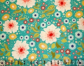 Riley Blake Designs Apple of my Eye by The Quilted Fish C2890 Blue Main Floral Cotton Woven Fabric 1 yard