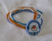 Wintry Carrot-Nosed Snowman Seed Bead Bracelet