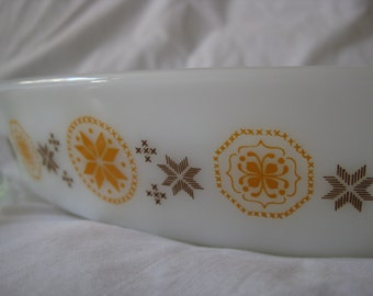 Vintage Pyrex Town and Country Cinderella Oval Divided Serving Dish No. 963 with Lid MINT