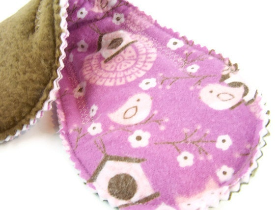 Heavy Absorb Short Peanut Pad in Owls in the Garden - Reusable Cloth Pad
