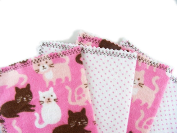 Little Tissues in Kitty Cat Meow - set of 4 flannel hankies