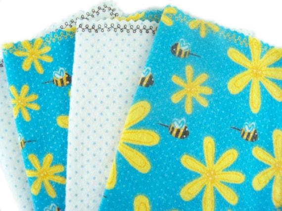 Little Tissues in Bumblebee Buzz - set of 4 flannel hankies