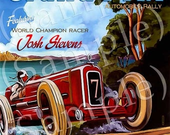 Personalized Grand Prix Car Racing Art Print 16x20