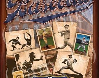 Baseball Americana Art Print - 16x20
