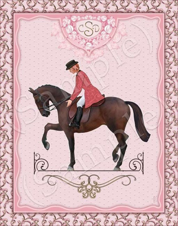 EQUESTRIAN ART - Horse and English Rider - Personalized  - 16x20