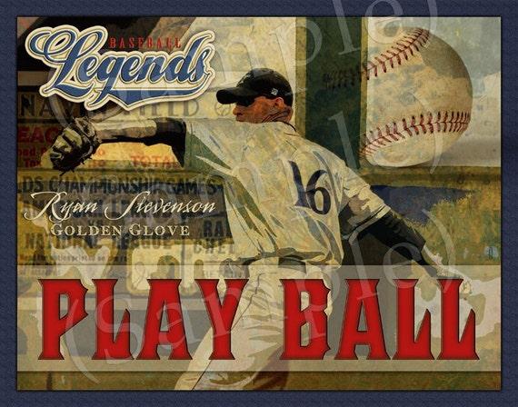 """Personalized """"Play Ball"""" Baseball Art Print 16x20"""