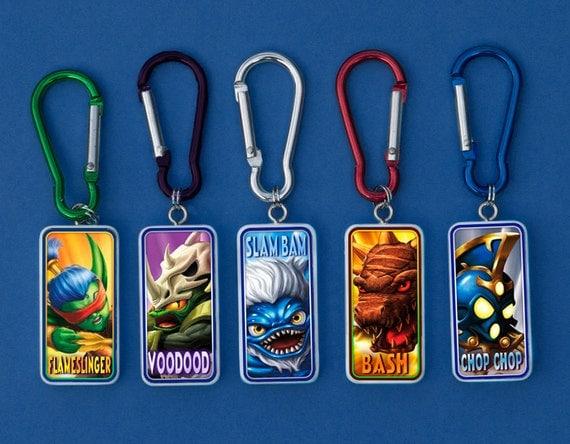 Skylanders Slam Bam, Flameslinger, Chop Chop, Voodood, Bash Back Pack Clips and keychains - Choose One