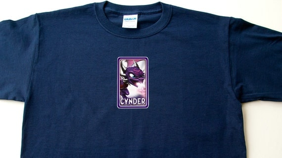 SKYLANDERS Cynder T Shirt  with Undead Element on Back - Youth XS-XL