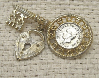 Vintage Key Coin Pin Heart Dangle
