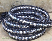 Silver and Black Wrap Bracelet- Free Shipping