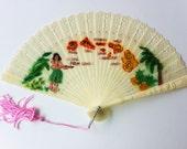 Hawaiiana Hula Girl Hawaii Islands Plastic Fan