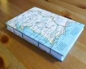 Portugal Map Coptic Stitch Travel Journal, European Notebook
