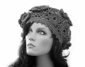 OOAK Wool Lace Crochet  Beret  in Natural Gray Color