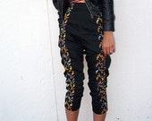Black 1950's Floral Audrey Hepburn Drop-Crotch Harem Pants