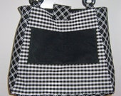 Black and White Houndstooth Print Purse Tote Bag
