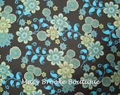 SALE French Quarter, Henry Glass Fabric, Blue Daisy, 1 yard
