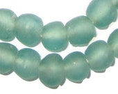 Clear Marine Recycled Glass Beads from Ghana, 50 Beads