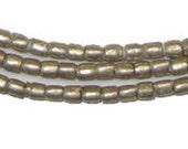 "Ethiopian Metal Beads - African Beads - Ethiopian Beads - Wholesale - Jewelry Making Supplies - Tiny Tubes, 25"" Strand (MET-TUB-SLV-204)"