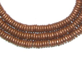 Kenya Copper Heishi Beads, Full Strand - African Metal Beads - Copper Beads - African Beads - Tiny Disks - Made in Kenya (MET-HSHI-CPR-207)