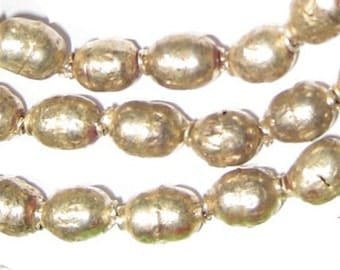 Ethiopian Prayer Beads, Full Strand of Silver Color African Trade Beads (MET-OVL-SLV-201)