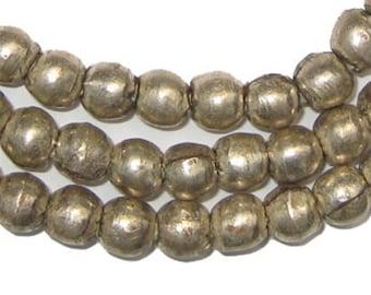 Round White Metal Ethiopian Beads (MET-RND-SLV-202)