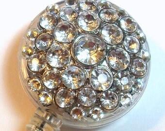 Clear Rhinestone Crystal Embellished Retractable ID Badge Reel